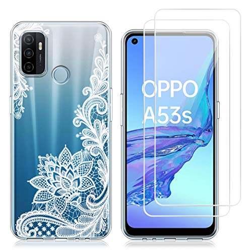 Reshias Hülle kompatibel mit Oppo A53, Weiße Blume Weich TPU Silikon Handyhülle Schutzhülle mit Zwei Gehärtetes Glas Schutzfolie Bildschirmschutzfolie für Oppo A53 / A53S 2020 (6,5 Zoll)