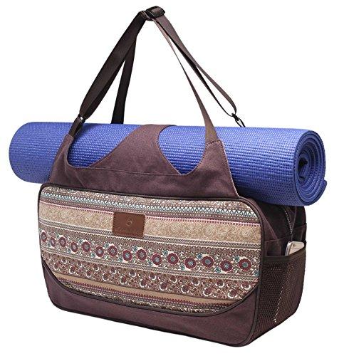 #DoYourYoga Bolsa de Yoga «Vimalaa Fabricada con Lona (Lienzo de algodón), con un laborioso Acabado. ¡para esterillas de Yoga EXTRAGRANDES y SUPERANCHAS! Estampado marrón