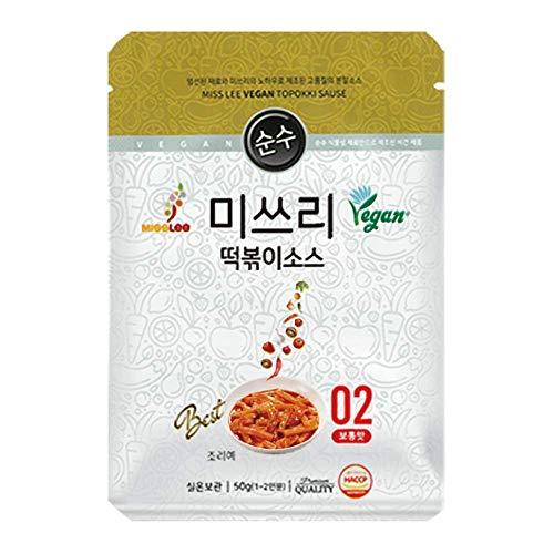 MISSLEE Food Vegan Tteokbokki Korean Seasoning Blend Ddeokbokki Stir-fried Rice Cake Food Sauce Level 2 Average, Pack of 5 1.76oz, 50g Each
