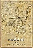Póster de mapa de España Miranda de Ebro en lienzo con impresión de estilo vintage, sin marco, para decoración de regalo, 40,6 x 50,8 cm