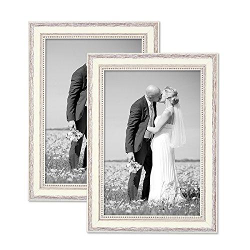 PHOTOLINI 2er Set Bilderrahmen Shabby-Chic Landhaus-Stil Weiss 20x30 cm Massivholz mit Glasscheibe und Zubehör/Fotorahmen
