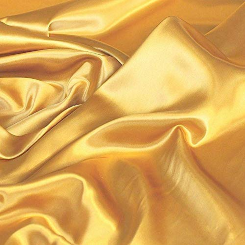 TOLKO Glanz Satin Modestoff/Deko-Stoff/Kostümstoff als Meterware zum Nähen, Dekorieren und Basteln (Gold)
