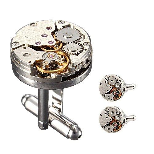Cufflinks 1 Paar Weinlese Rund Uhr Bewegungs Maschinen Entwurfs Manschettenknöpfe für Mens