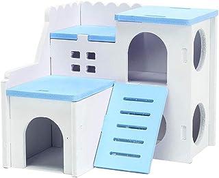 Balacoo 木製ハムスターの家-スライド付き二層小型ペット遊び場、ドワーフハムスター、マウス、ラット、その他の小動物用のハムスターの隠れ家小屋遊びおもちゃ(青)