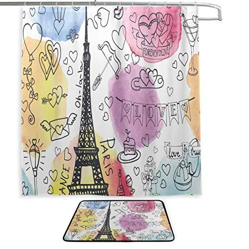 Cortina de decoración de baño Love Paris Travel France Card Cortina de Ducha Alfombra de baño Impermeable y Cortina de Ducha 2 Juegos con 12 Ganchos para baño Principal, baño de niños, baño de invita