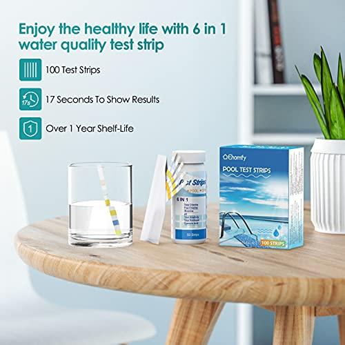 Ehomfy Tiras de Papel Reactivas Piscina pH, 6 en 1 Papel de Prueba de Agua, Pruebas de pH, Cloro Residual, alcalinidad, dureza, ácido cianúrico, para Piscina, SPA, bañera de hidromasaje (100 Piezas)