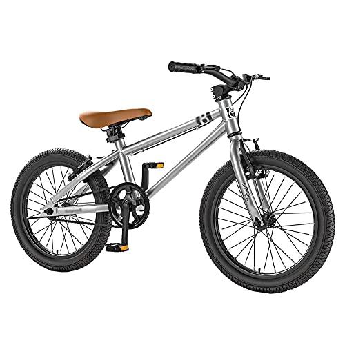 HUAQINEI Bicicleta para niños Bicicleta para Exteriores, Adecuada para Bicicleta de montaña Ajustable para niños de 4 a 15 años, Blanco, 16