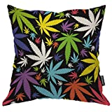 Moslion Throw Pillow Cover Leaves 18x18 Inch Marijuana Weed Leaf Colorful Cannabis Colorful Beautiful Square Pillow Case Cushion Cover for Home Car Decorative Cotton Linen