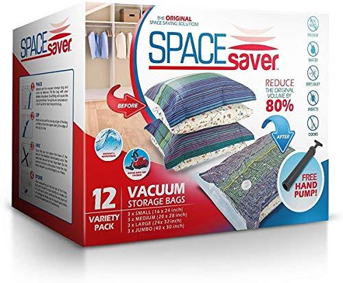 Sacs de Rangement Sous Vide Jumbo 100x80cm Premium Space Saver + Sans Hand-Pump Pour Voyage.(80% de L'espace de Stockage Plus Que Les Autres Marques. (Garantie de Remplacement...