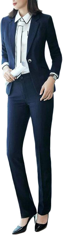 Pandapang Womens 2PCS Pants Blazer Coat One Button Casual Business Suit Sets