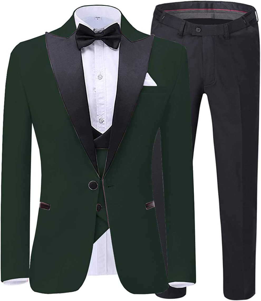 Men's 3 Pieces Suit Formal Slim Fit Notched Lapel Solid Tuxedos Groomman for Wedding(Blazer+Vest+Pants)