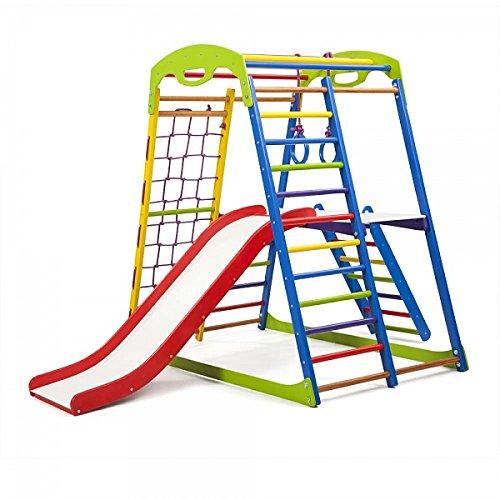 Centro de actividades con tobogán'Sportwood-Plus-2' red de escalada, anillos, escalera sueco, campo de juego infantil