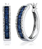 Jewelili Sterling Silver Blue and White Diamond Hoop Earrings (1/10 cttw)