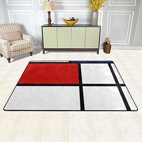 No De Stijl #1 (Mondrian Inspired) - Alfombra de almohada (36 x 24 pulgadas y 72 x 48 pulgadas, alfombra de goma antideslizante para interior/exterior/puerta delantera/baño