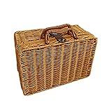 RIABXZ Cesta de mimbre para pícnic, cesta de mimbre tejida estilo vintage, bolsa de mimbre hecha a mano, caja de almacenamiento de ratán con asas para picnic, camping cualquier otro evento aire libre