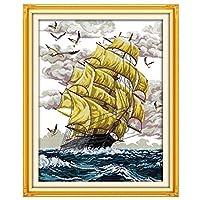刺繍キットDIY刺繍セット 船の風景64x80cm 初心者向け クロスステッチキット 刺しゅうセット き 刺繍糸 刺繍用布 刺繍工具