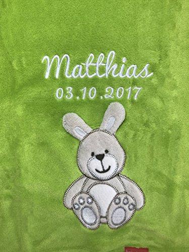 Babydecke bestickt mit Name und Geburtsdatum / kuschelig weich / 1A Qualität (Apfelgrün - HASE)