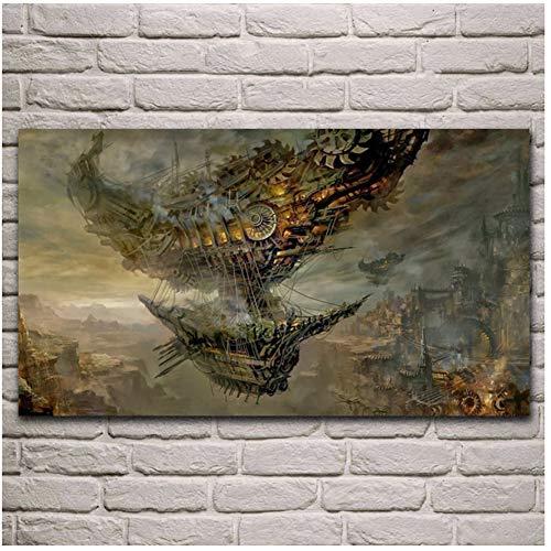 sjkkad Steampunk Luftschiffe Fantasy City Wohnzimmer Dekor Home Wandkunst Dekor Poster Druck auf Leinwand Dekoration in Home -50x100cm No Frame