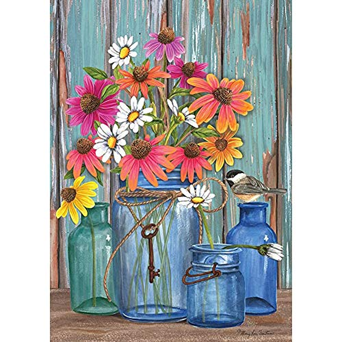 DIY 5D Diamond Painting Kits, Full Drill Diamond Painting for Adults and Kids,Round Diamond Art Perfect for Relaxation and Home Wall Decor Gift(Flower,12x16inch)