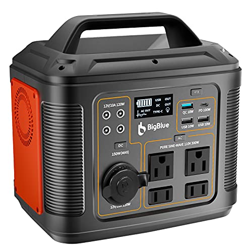 296Wh Portable Power Station, BigBlue [PD 100W Type-C] 80000mAh Solar Generator with MPPT, 4 Pure Sine Wave AC/4 DC/4 USB Ports, Fast Charge, CPAP Backup Battery with 18W Flashlight for Camping