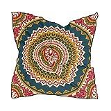 ALARGE - Bufanda cuadrada de seda geométrica con patrón de mandala y protector solar ligero y suave para mujeres y niñas