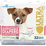 Paw Inspired 32ct Disposable Dog Diapers | Female Dog Diapers Ultra Protection | Diapers for Dogs in Heat, Excitable Urination, or Incontinence (Small)