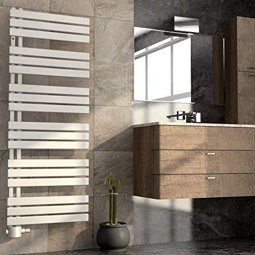 Mert ASK Design Heizung elektrisch Paneelheizkörper gerade Elektro 1/2 Zoll Badheizung 1600x600 Badheizkörper Anschluss 50 mm weiß Heizkörper