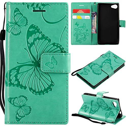 BoxTii Hülle für Sony Xperia Z5 Compact, Premium Brieftasche Lederhülle mit Standfunktion und Kartenfach Pour Sony Xperia Z5 Compact, 2 Prägung