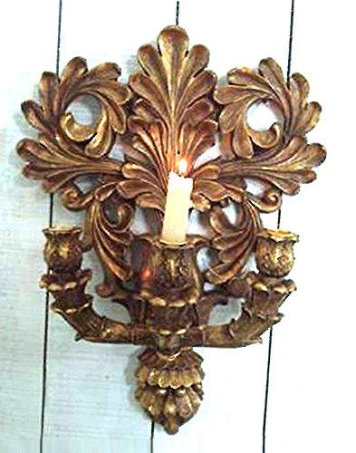 Candelabro in resina a 3 bracci stile barocco decorazione tipo foglia oro