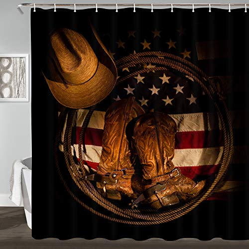 JAWO Western Shower Curtain, American Flag with Cowboy Boots Rope and Cowboy Hat Bathroom Curtains Polyester Fabric Waterproof Bath Decor Hooks Included 69x70inches