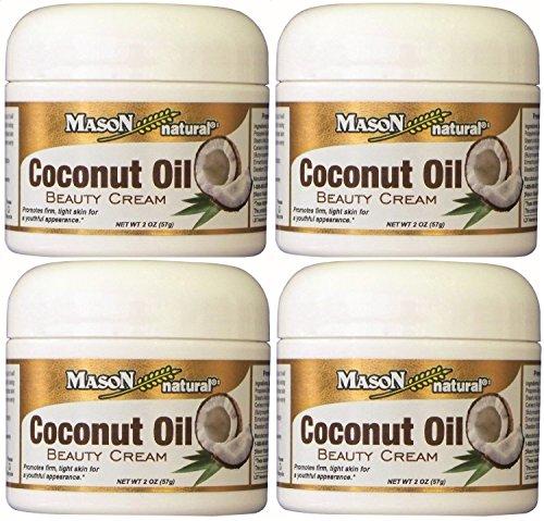 Mason Naturals Coconut Oil Beauty Cream 2 oz. per Jar PACK of 4 Promotes Firm, Tight Skin