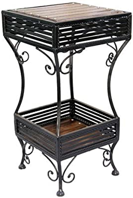 Ck Handicrafts Wrought Iron and Wood Square Shape Side Stool For Home