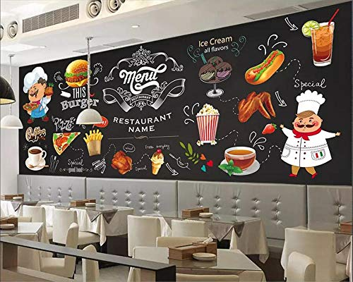 XQFZXQ Fototapete -PVC Black Burger Brathähnchen & Chips Western Restaurant Selbstklebend - 3D Moderne Wanddeko - Design Tapete Children's Room Cartoon Mural Boy Girl Room Decorative(B)300x(H)210cm