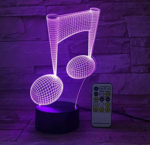 3D LUZ DE noche visual Cráneo 7 colores cambian con control remoto,cool LED Óptico Luz de noche Regalos creativos para niños niñas.