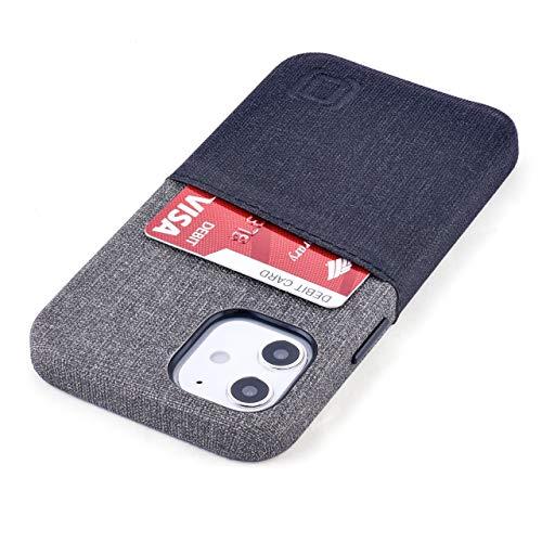 Dockem Luxe M2 Funda Cartera para iPhone 12 Mini: Funda Tarjetero Slim con Placa de Metal Integrada para Soporte Magnético: [Negro y Gris]