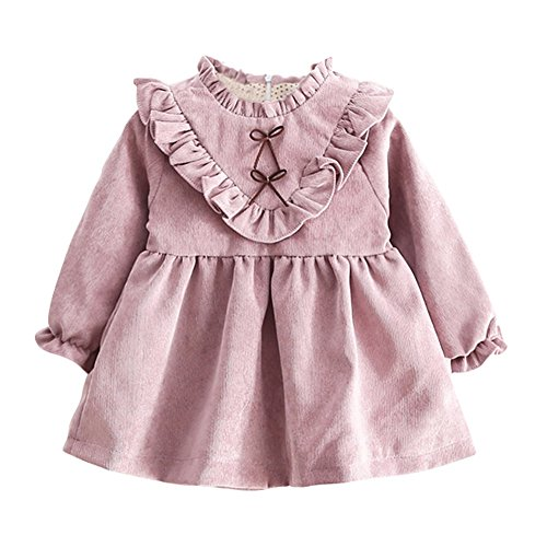 BOBORA Robes Bebe Filles Hiver Automne Robe Princesse a Manches Longues en Coton