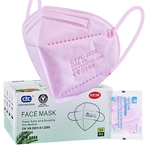 ctc connexions FFP2 / KN95 5-Lagen-Gesichtsschutzmaske, CE-zertifiziert, rosa (20 St¨¹ck / Karton, jeweils in Einzelverpackung)