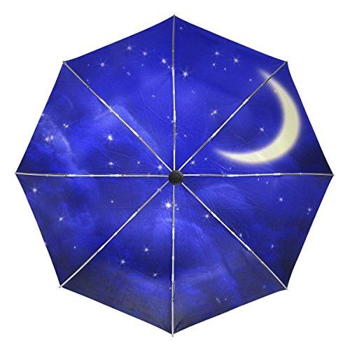 VAWA 日傘 折りたたみ 軽量 自動開閉 遮光 遮熱 UVカット おしゃれ 星空 月柄 星柄 ブルー 3段折 折りたたみ傘 ワンタッチ 晴雨兼用 収納ポーチ付き