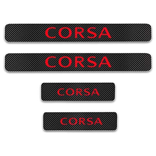 L/&U 4Pcs 4D Carbon Fiber Car Door Guard Bumper Protection Trim Cover Scuff Plate Sticker for Opel Corsa,Red