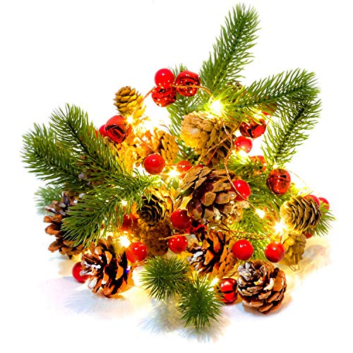 HomeKaren Christmas Garland Lights String 6.7Ft Battery Operated with Pine Cone Red Berry Jingle Bell 20 LED for Xmas Decor Fireplace Door Tree Indoor Outdoor