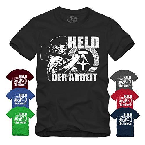 Held der Arbeit - T-Shirt Helden Hammer Und Zirkel Arbeiten DDR Orden Banner Ostalgie Ostdeutschland (S, Navy)