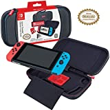 RDS Industries Game Traveler Licensed Nintendo Switch Black Case - Adjustable Viewing Stand & Game Case Storage, Protective Vinyl Hard Shell Case with Loop Handle - Nintendo Switch