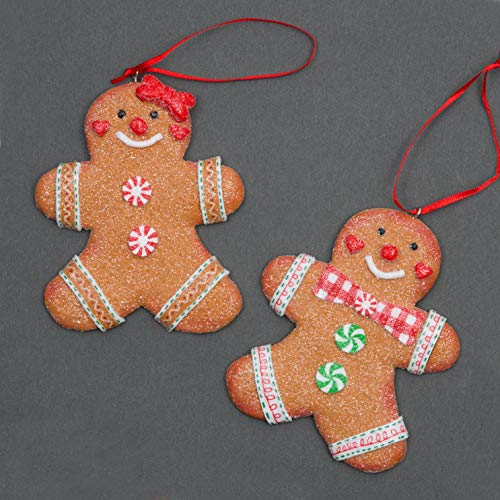 SHATCHI Traditional Gingerbread Cookie Couple Man & Lady Christmas Hanging Decorations Xmas Tree Wall Home Décor Ornaments 2pcs Set, Multi-Colour