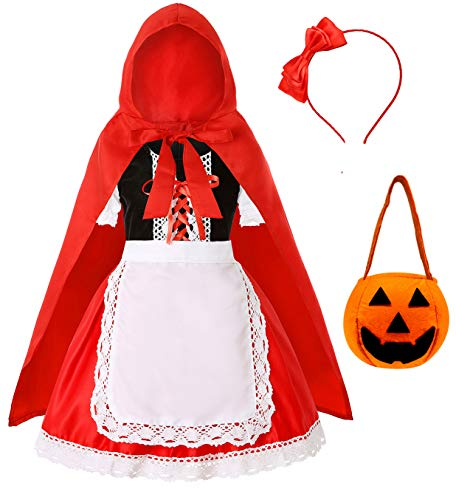 Simplecc Little Red Riding Hood Costume for Girls Halloween Costume Party Dress 3-10 Years (Red Riding Hood, 5-6 Years)