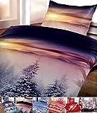 [page_title]-Leonado Vicenti Winter Flausch Bettwäsche Weihnachten Motive Microfaser Thermo Fleece, 2X 135x200 cm + 2X 80x80 cm Winterhills