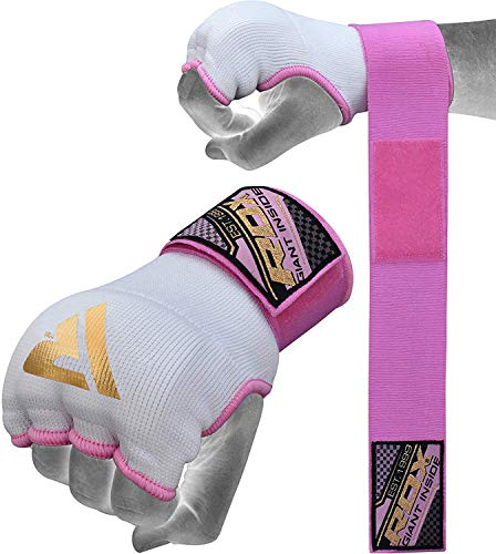 RDX Ladies Training Boxing Inner Gloves Hand Wraps MMA Fist Protector Bandages Mitts, Medium, Pink