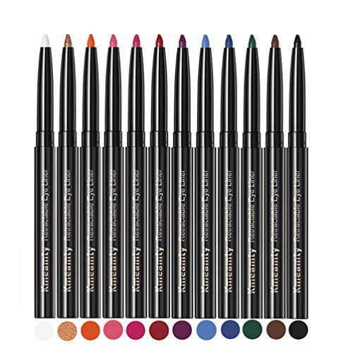 Gel Eye Liner Pencil Set, Kmeamty 12 Colors Retractable Long-Lasting Smooth Waterline Eye Liner Lip Liner Eyeshadow - Vegan, Cruelty Free