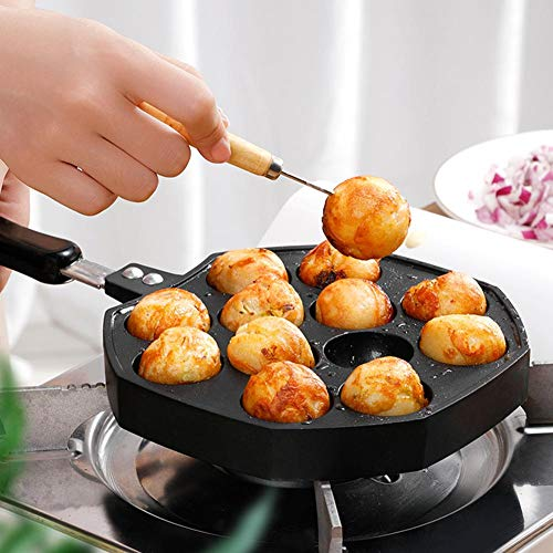 Hifuture Takoyaki Maker Pfanne Tintenfisch Bällchen Bratpfanne 12 Löcher Gusseisen Antihaft Nonstick Backblech Backplatten Für BBQ Grill Küche Induction Kinder Snack Schwarz