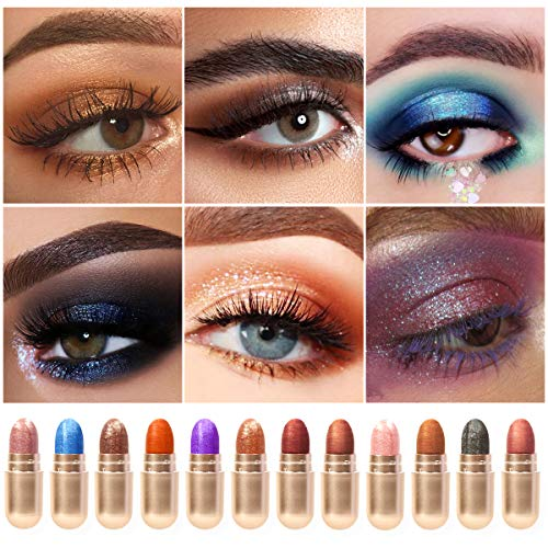 KISSIO Eyeshadow,Eyeshadow Stick Set 12 Colors,DEROL Eyeshadow Crayon,Waterproof Eyeshadow Stick,eyeshadow pencil,eyeshadow pen(12 PCS/BOX)