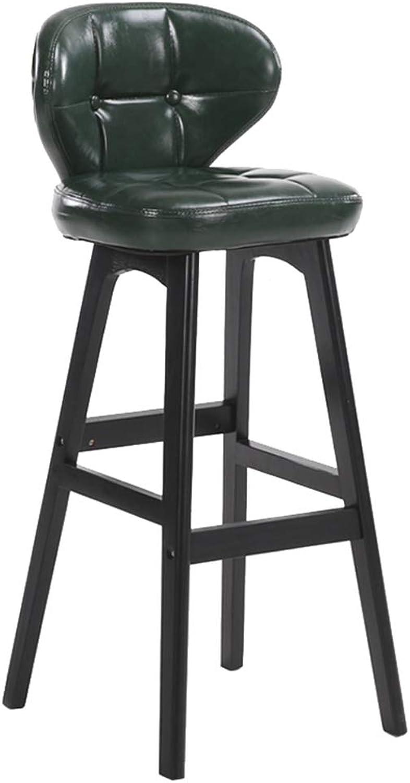 Bar Chair Solid Wood Restaurant Modern Kitchen Simple Bar High Stool Bar Stool Front Desk Cashier Home Thickening Cushion